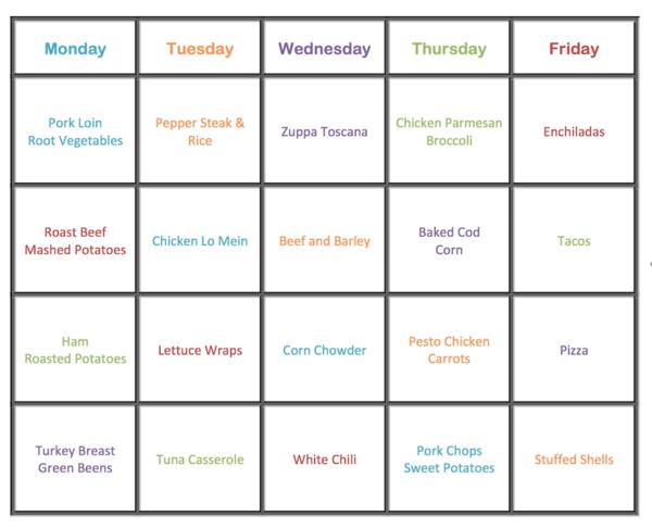 January Weekly Dinner Plan